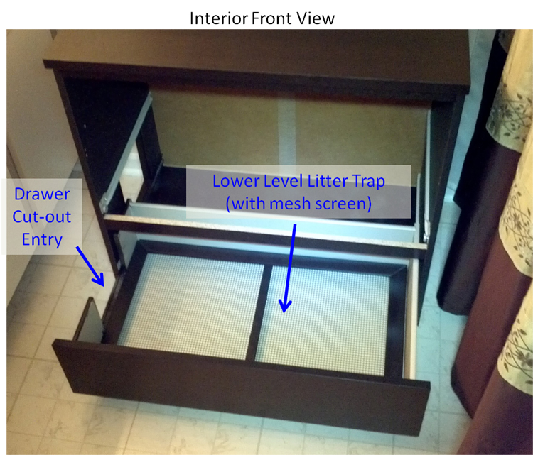 Bottom Drawer with Mesh Screen Litter Trap